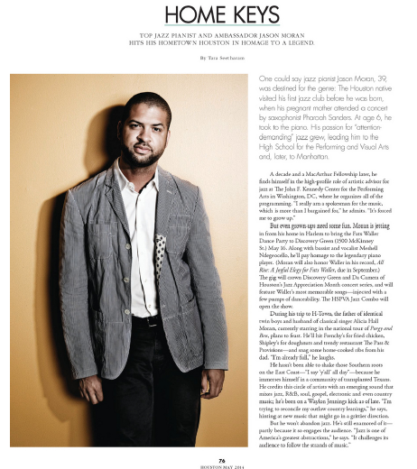 Home Keys: Jason Moran  Houston magazine - May 2014