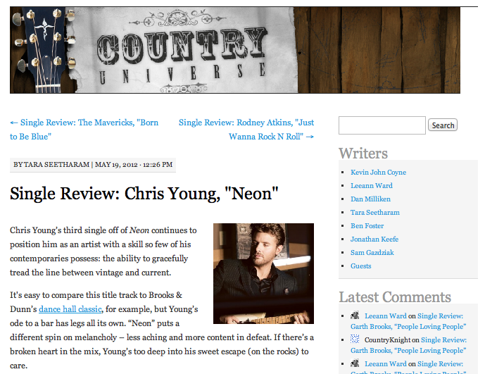 "Single review: Chris Young, ""Neon""  Country Universe - May 19, 2012"