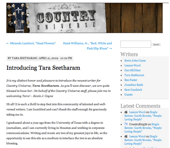 Introducing Tara Seetharam  Country Universe - April 21, 2009
