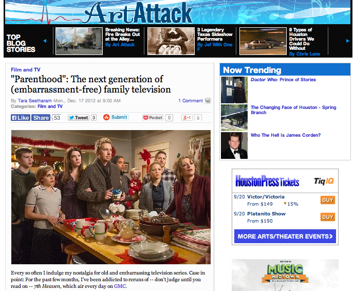 """Parenthood"": The next generation of (embarrassment-free) family television  Houston Press - December 17, 2012"