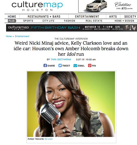"Weird Nicki Minaj advice, Kelly Clarkson love and an idle car: Houston's own Amber Holcomb breaks down her ""Idol"" run CultureMap - March 27, 2013"