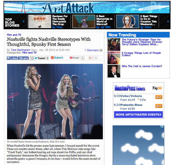 """Nashville"" fights Nashville stereotypes with thoughtful, spunky first season  Houston Press - April 29, 2013"