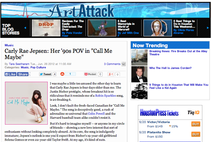 "Carly Rae Jepsen: Her '90s POV in ""Call Me Maybe""  Houston Press - June 26, 2012"
