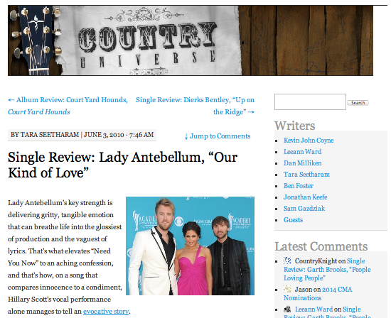"Single review: Lady Antebellum, ""Our Kind of Love"" Country Universe - June 3, 2010"