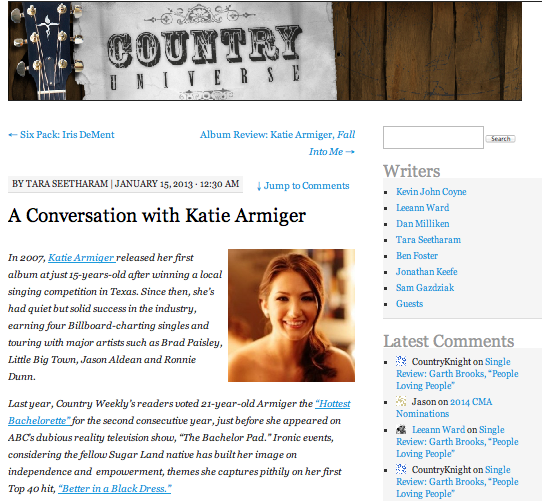 A conversation with Katie Armiger  Country Universe - January 15, 2013