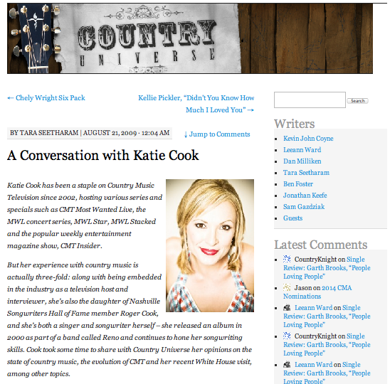 A conversation with Katie Cook  Country Universe - August 21, 2009