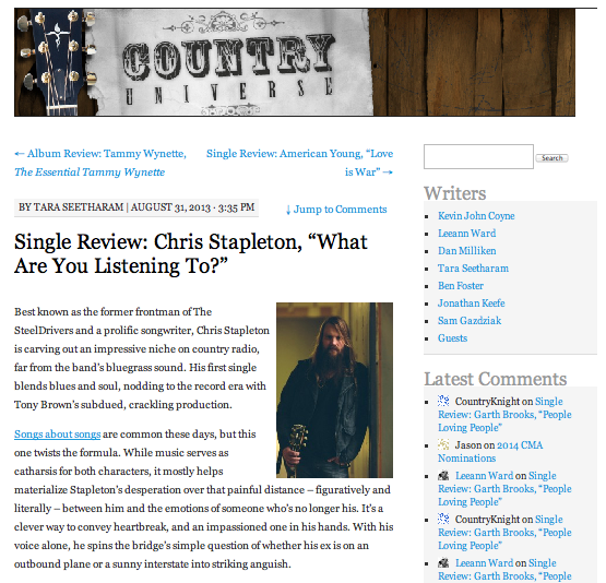 "Single review: Chris Stapleton, ""What Are You Listening To?""  Country Universe - August 31, 2013"
