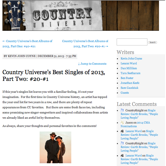 Country Universe's best singles of 2013, Part Two: #20-#1 Country Universe - December 31, 2013