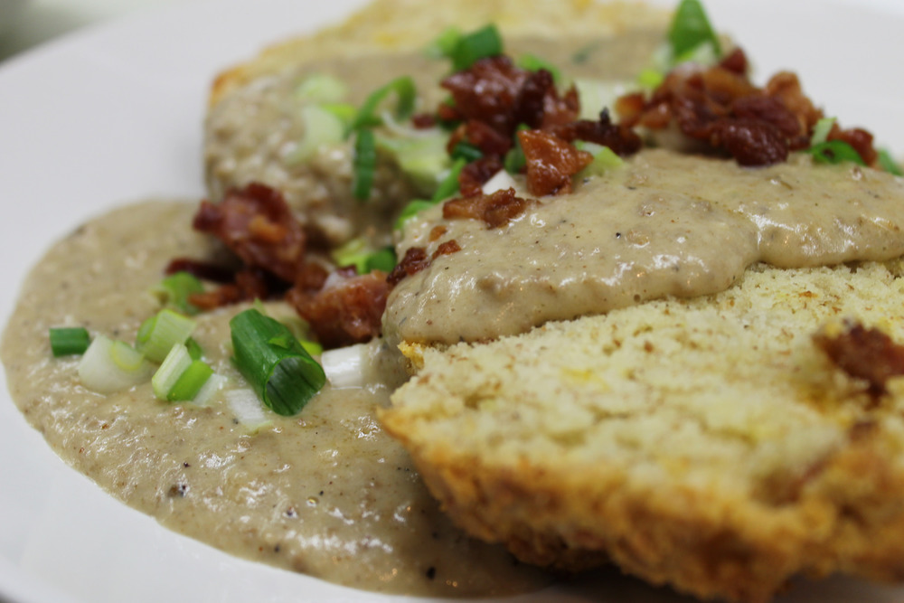 Bacon Cheddar biscuits and gravy
