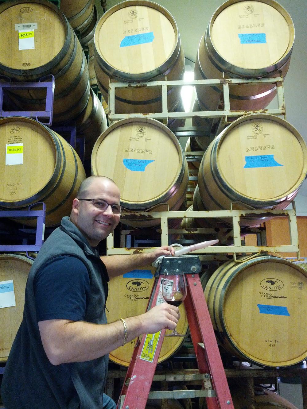 John Scheidt barrel tasting