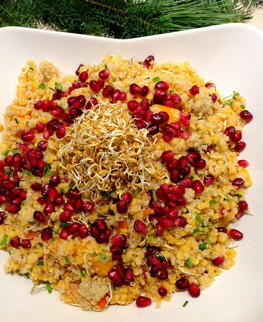 Red Lentil, Quinoa and Pomegranate Salad