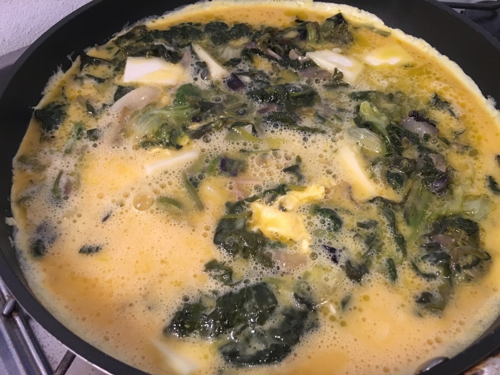 Leftover greens and eggs