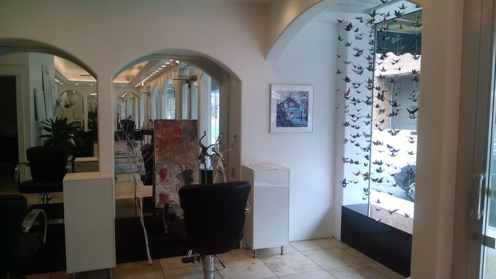 Drue Salon interior with commissioned paper cranes
