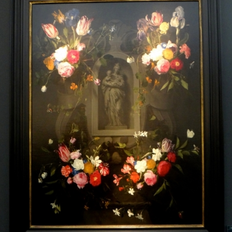 Daniel Seghers, Swags of Flowers adoring a Grisaille Cartouche with the Virgin and Child.