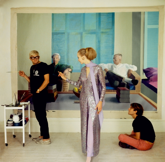 Cecil Beaton, David Hockney, Peter Schlesinger and Maudie James, 1968