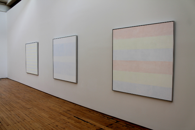 Agnes Martin, From the  Innocent Love  Series, 1999:  Perfect Happiness ;  Innocent Love ;  Where Babies Come From .