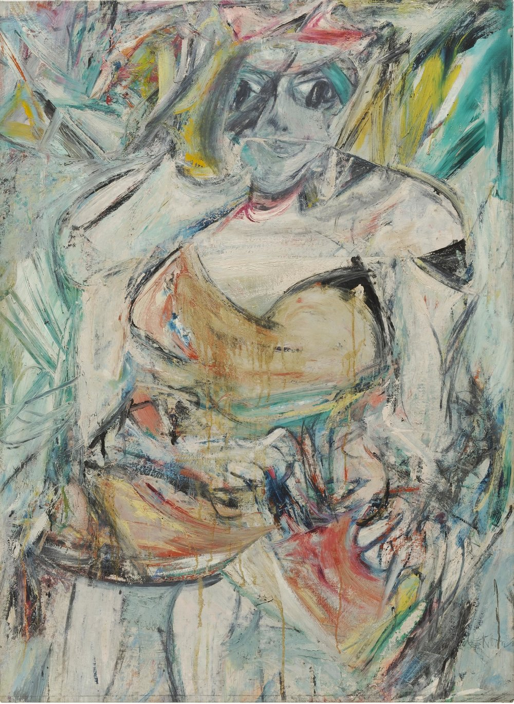 Key 183,   Willem De Kooning,    Woman II   , 1952. Oil, enamel and charcoal on canvas, 149.9 x 109.3 cm.   The Museum of Modern Art, New York.