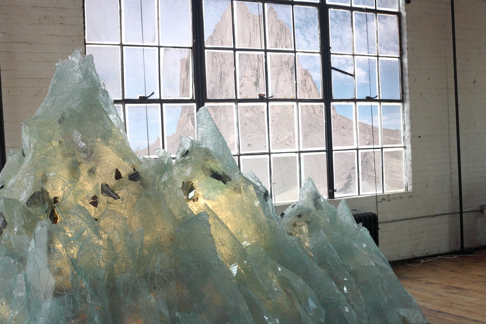 Mountain (Studio Detail) Glass, LED lights. 85 x 145 x 63 inches | 216 x 368 x 160cm 2015.