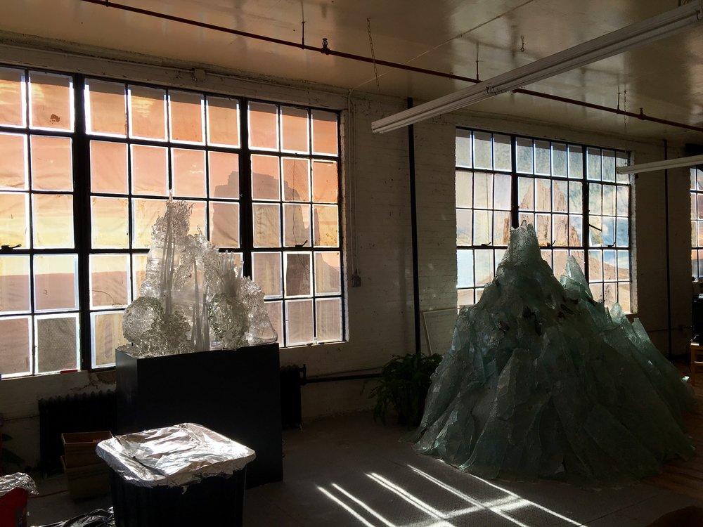 Mountain (Studio Detail) Glass, LED lights. 85 x 145 x 63 inches | 216 x 368 x 160cm 2015.