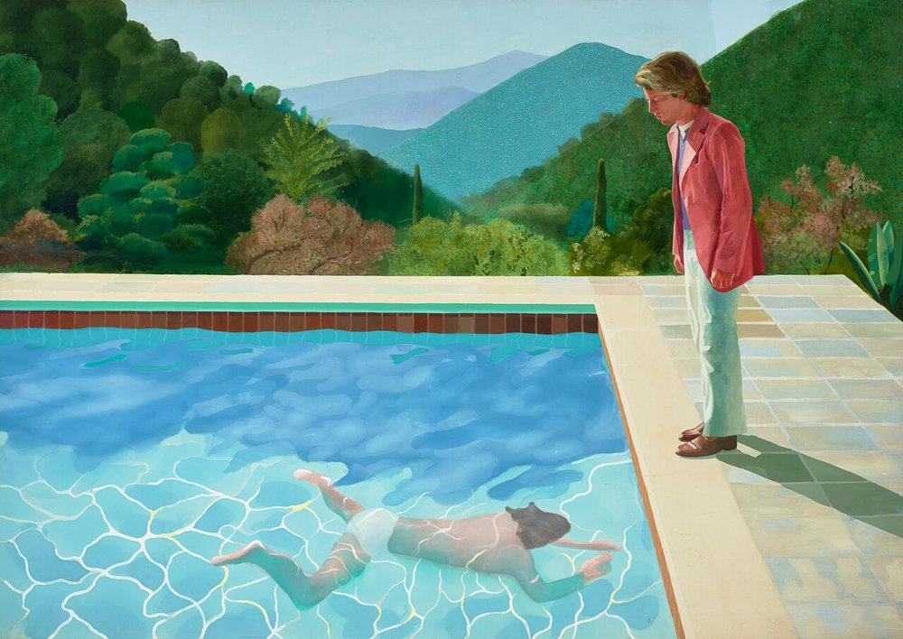 Portrait of an Artist (Pool with Two Figures) 1971. Acrylic paint on canvas 1520 x 1520 mm  National Museums Liverpool, Walker Art Gallery. Presented by Sir John Moores 1968 © David Hockney Photo Credit: Richard Schmidt