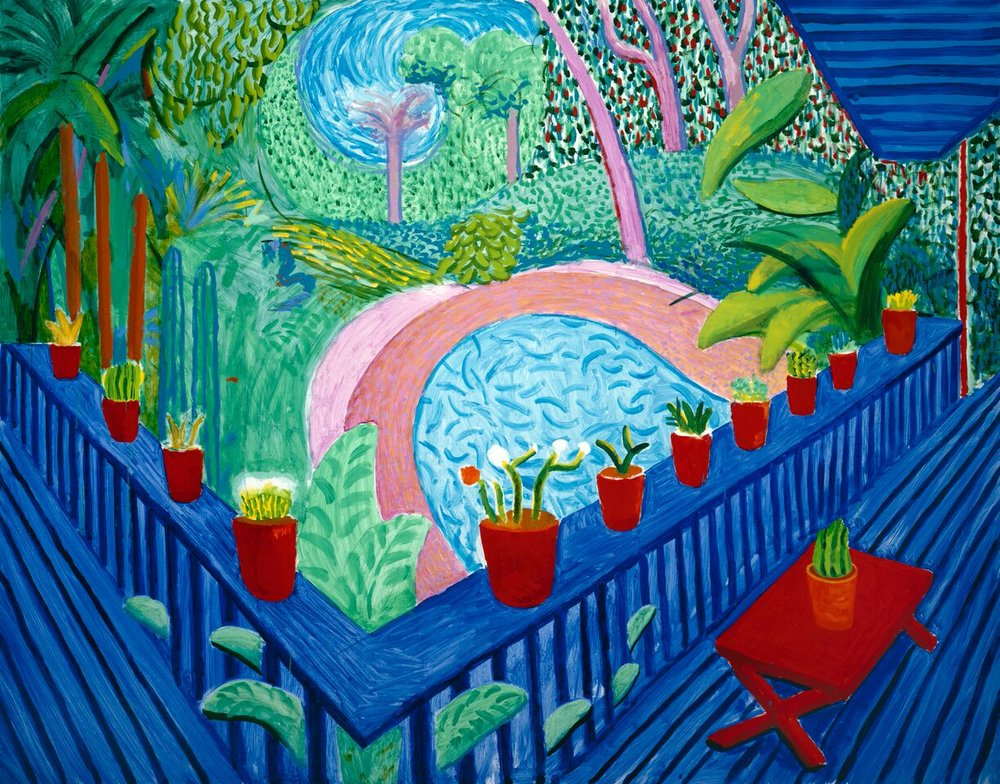 Red Pots in the Garden 2000. Oil paint on canvas. 1524 x 1930 mm. Private collection, courtesy Guggenheim Asher Associates © David Hockney Photo Credit: Richard Schmidt