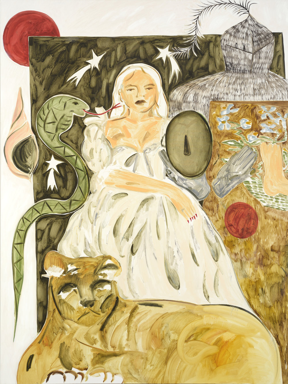 Faye Wei Wei, Lady, Three White Leopards Sat Under a Juniper Tree, 2017
