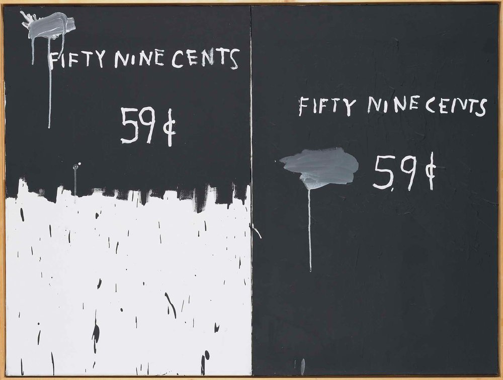 Jean-Michel Basquiat,  2 for a dollar  (1983), oil on two attached canvases, 91.4 x 121.9 cm (35.98 x 48 in.) © The Estate of Jean- Michel Basquiat
