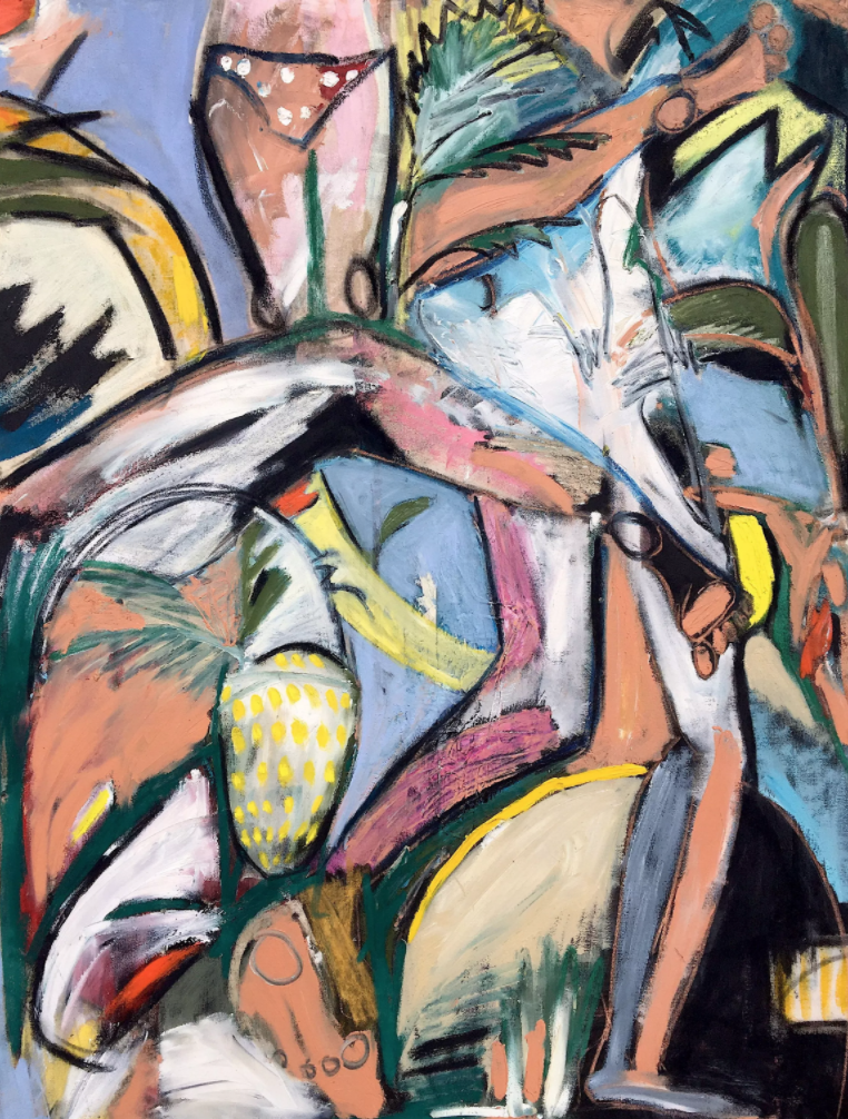 Jack Penny,  Tropical Dancing , 2017, oil on canvas, 86.4 x 91.4 cm. Image courtesy of the artist and The Dot Project.