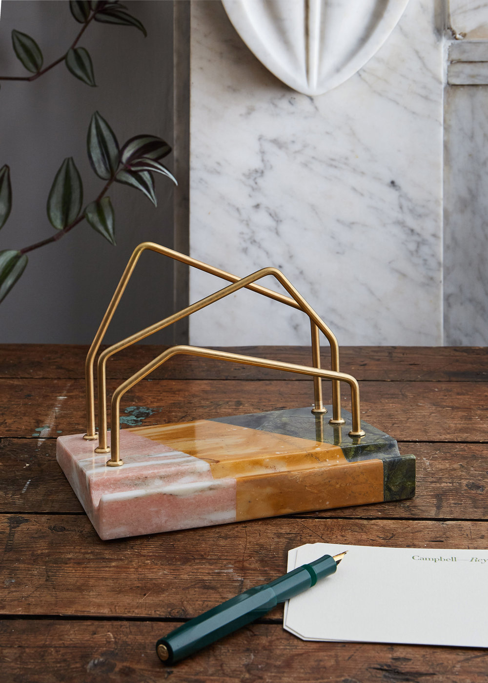Marble and Brass Letter Holder for BOF Voices, 2017