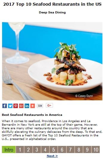 Honored to Be on Top Ten Seafood Restaurant List