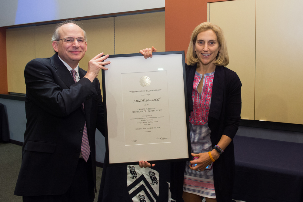President David Leebron with Mikki Hebl, Professor of Psychology