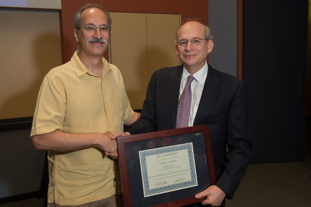 President David Leebron with Yousif Shamoo, Vice Provost for Research and Professor of BioSciences