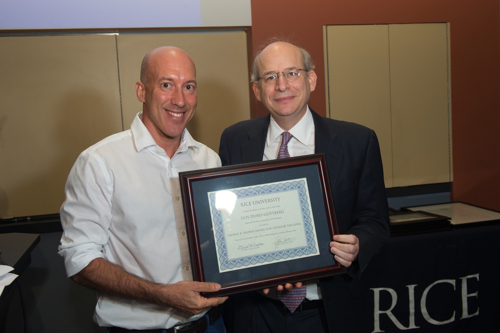 President David Leebron with Luis Duno-Gottberg, Associate Professor of Spanish and Portuguese