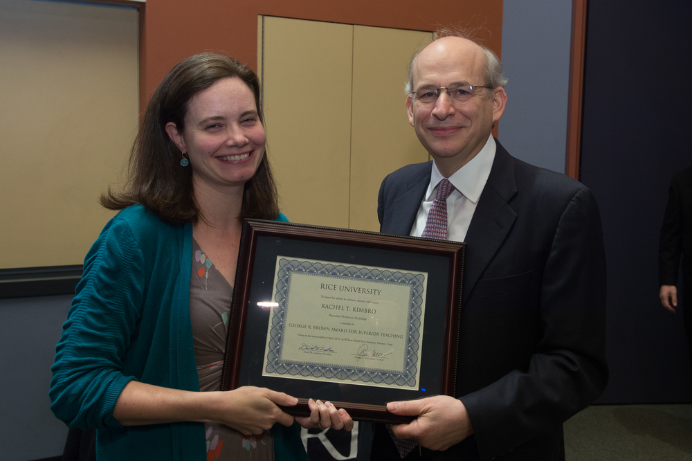 President David Leebron with Rachel Kimbro, Associate Professor of Sociology