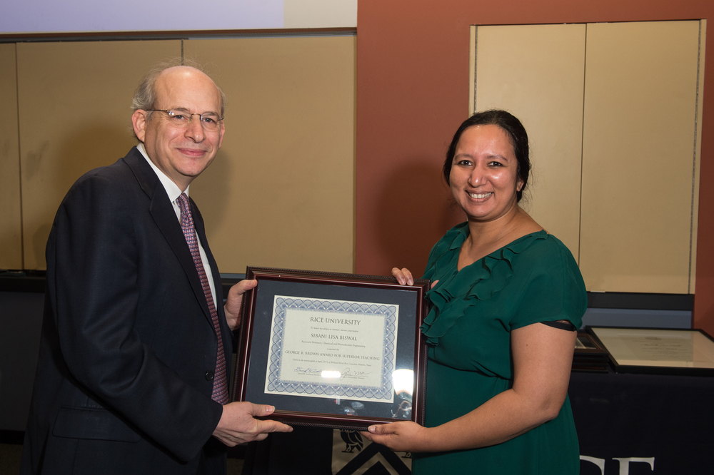 President David Leebron with Sibani Lisa Biswal, Associate Professor of Chemical and Biomolecular Engineering