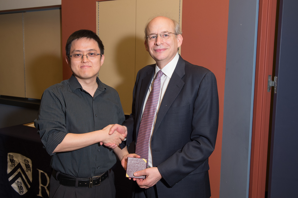 President David Leebron with Jun Lou, Associate Professor of Materials Science and Nanoengineering