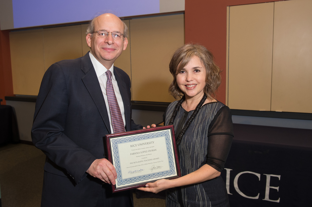 President David Leebron with Fabiola Lopez Duran, Assistant Professor of Art History