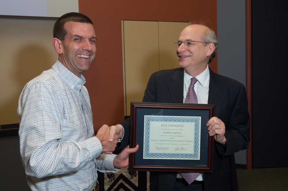 President David Leebron with Robert Griffin, Professor of Civil and Environmental Engineering