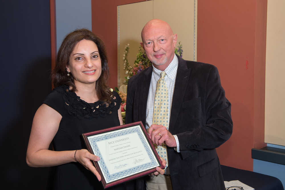 Dean Nicolas Shumway with Maryam Emami, Lecturer of French