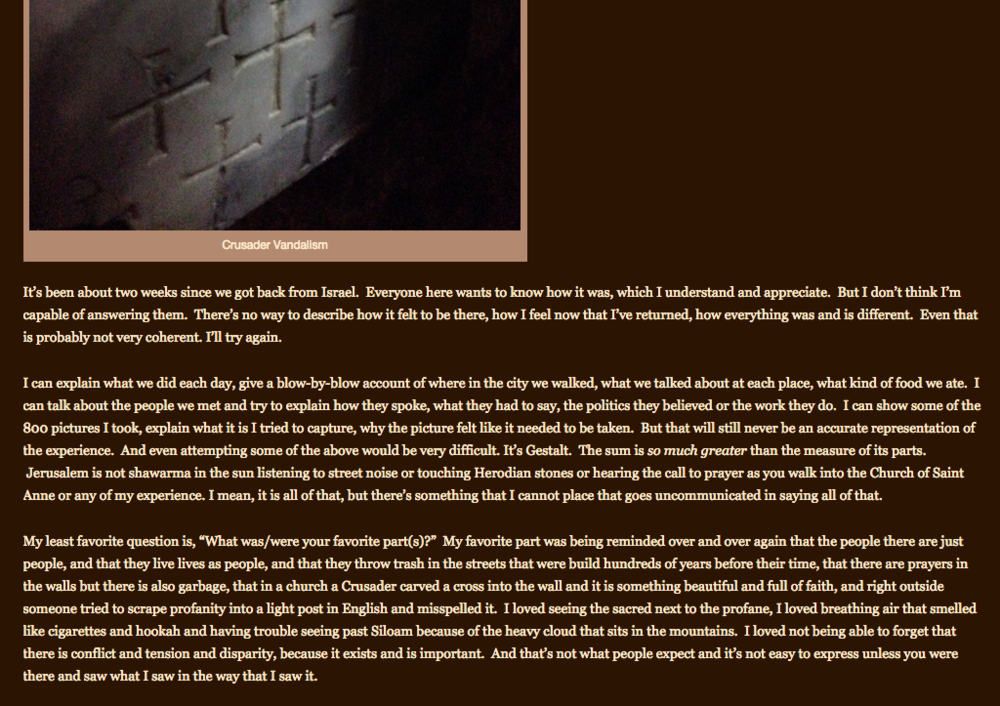 Screenshot of student blog post entry.