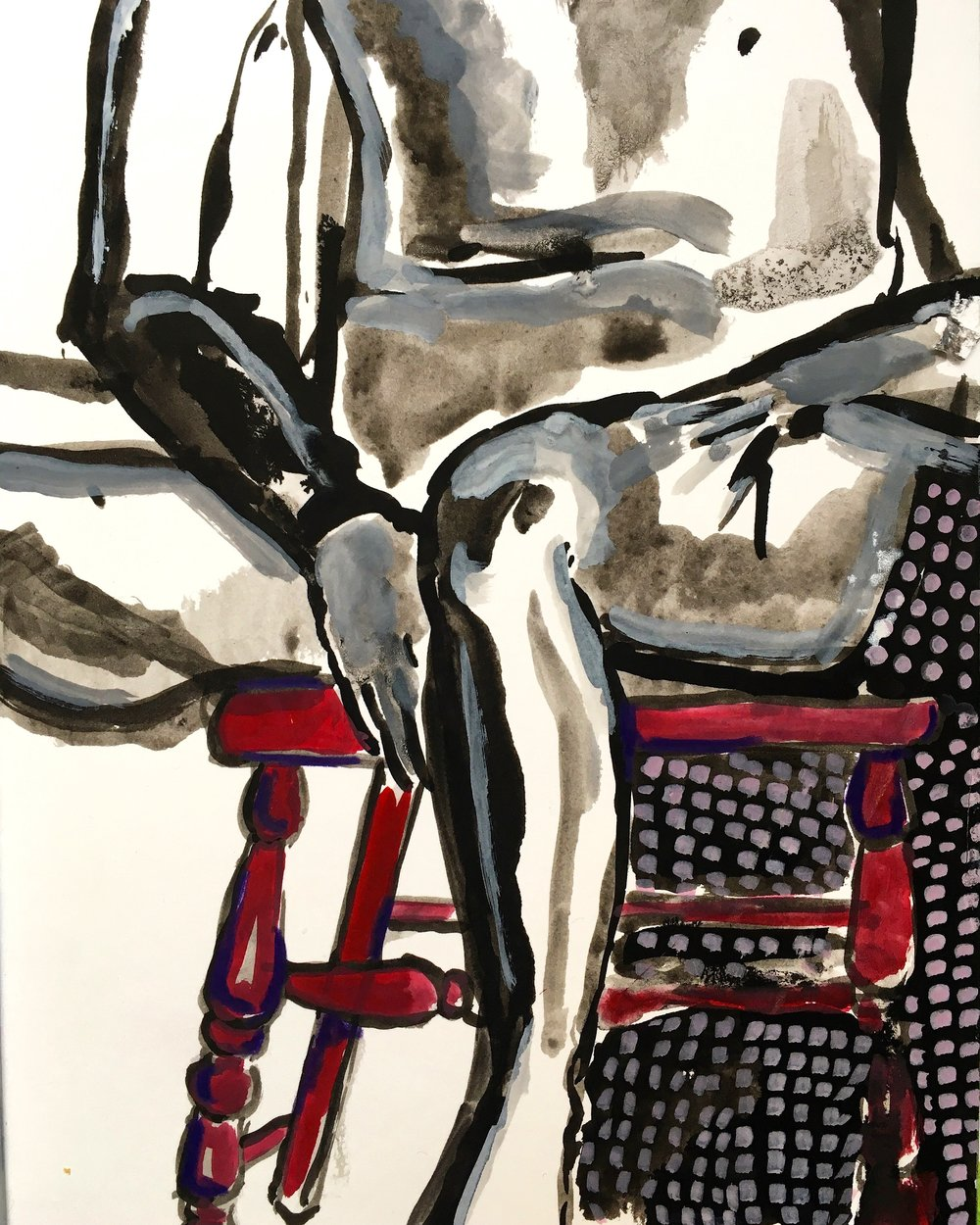 Nude on Red Chair (2017)