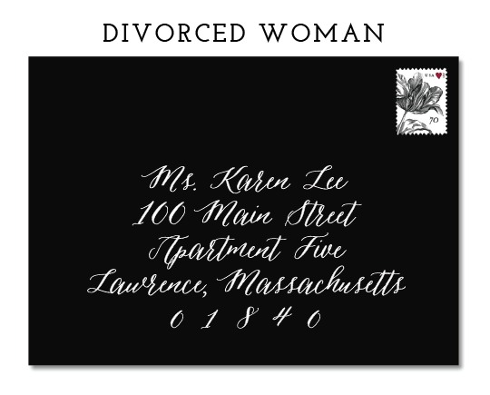 "IT IS ACCEPTABLE TO USE EITHER ""MRS."" OR ""MS"" TO ADDRESS A DIVORCED WOMAN."