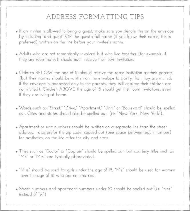 address formatting envelope etiquette emily rose ink