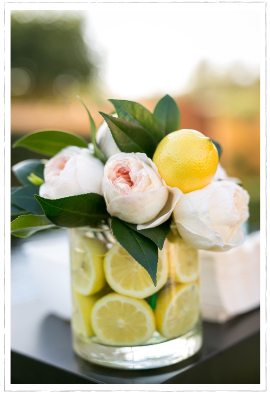 lemon flowers wedding mediterranean floral arrangement
