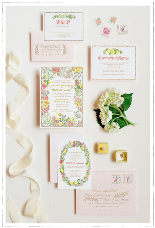 Mediterranean Garden Watercolor floral invitation blush gold foil Emily Rose Ink lemons wedding