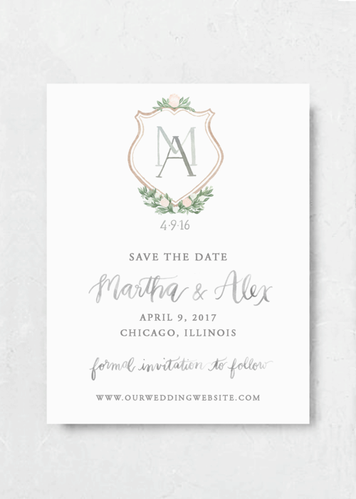 save the date blush crest emily rose ink