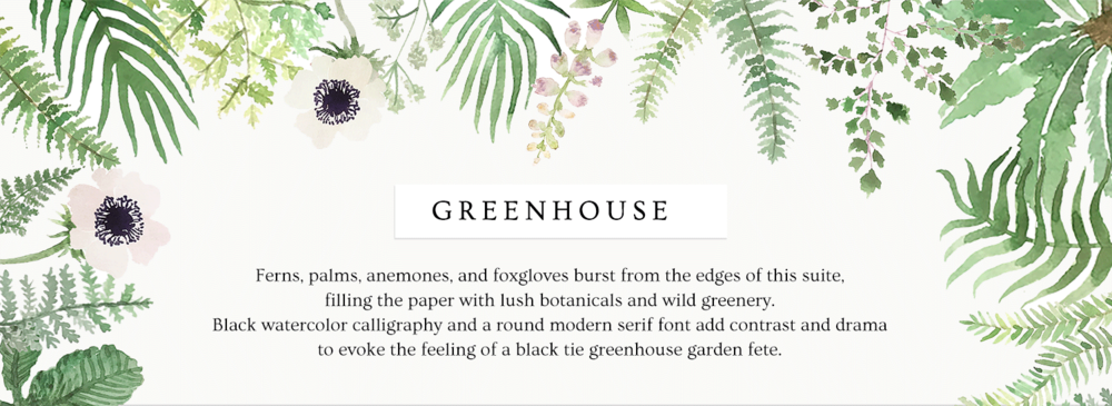 Greenhouse botanical fern palm wedding invitations