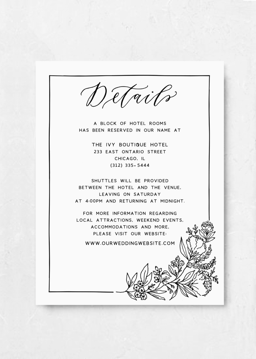 Info Card Black and White Floral Illustration Wedding Invitation