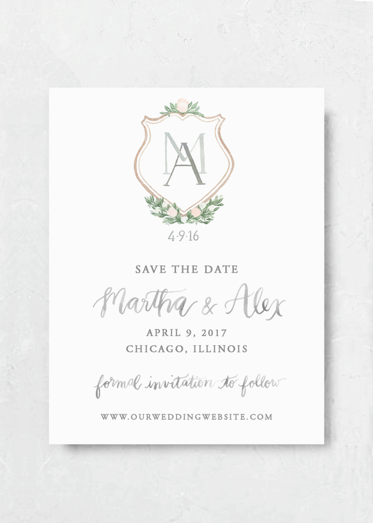 Blush Crest Save the Date