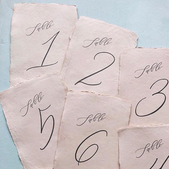 1, 2, 3, 4...can I have a little more? ... These table numbers were printed on a dusty rose handmade paper for our first 2018 wedding with @ashleycreative and dang if It doesn't make me want to break out into a Beatles song!